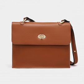 Cilela Classic Twist-Lock Brown Satchel (CK-1015)