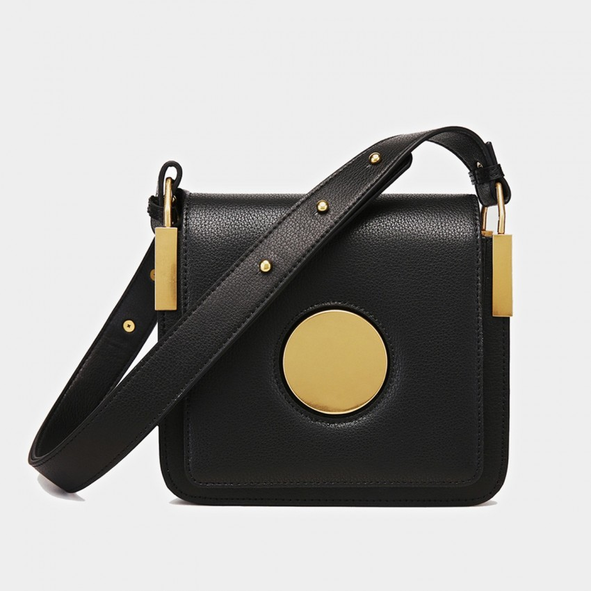 Cilela Square Black Shoulder Bag (CK-9905)