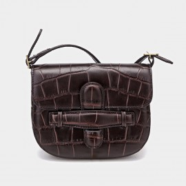 Cilela Cross Saddle Brown Satchel (CR-00925)