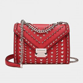 Cilela Silver Studs Envelope Red Satchel (MK-00915)