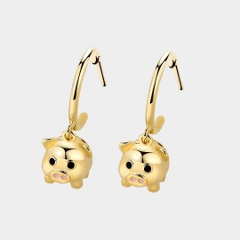 Caromay Baby Piggy Champagne-Gold Earrings (E4704)