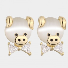Caromay Piggy Bow Champagne-Gold Earrings (E4777)