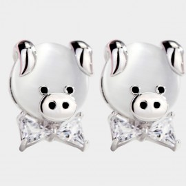 Caromay Piggy Bow Silver Earrings (E4777)