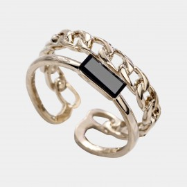Caromay Side By Side Black Ring (J0482-1)