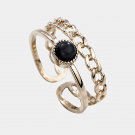 Caromay Side By Side Black Ring (J0482-2)