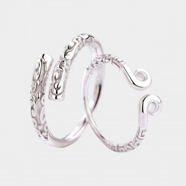 Caromay In Love Couple Silver Rings (J0552)