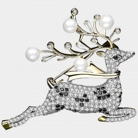 Caromay Galloping Deer Champagne-Gold Brooch (T0470)