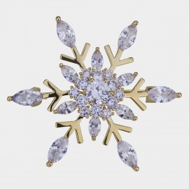 Caromay Blooming Snowflake Champagne-Gold Brooch (T0492)