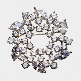 Caromay Crystal Wreath White Brooch (T0501)