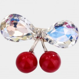 Caromay Crystal Cherry White Brooch (T0516)