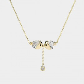 Caromay Kissing Fish Champagne-Gold Necklace (X1835)