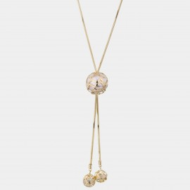 Caromay Embroidered Ball Champagne-Gold Long Chain (X2222)