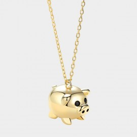 Caromay Fancy Pig Champagne-Gold Necklace (X2358)