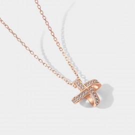 SEVENTY 6 Bright Bow Rose Gold Necklace (B2667)