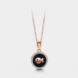 SEVENTY 6 Agate Koi Rose Gold Necklace (B2668)