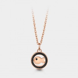 SEVENTY 6 Hollow Agate Koi Black Necklace (B2669)