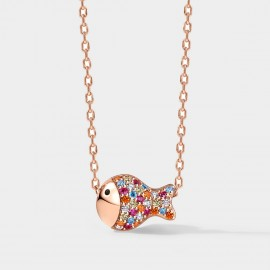 SEVENTY 6 Clownfish Rainbow Rose Gold Necklace (B2671)