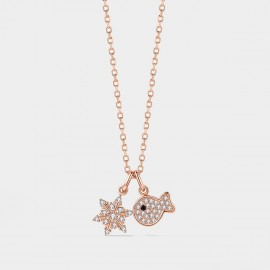 SEVENTY 6 Snowflake Clownfish Silver Necklace (B2704)