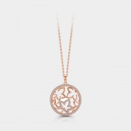 SEVENTY 6 Floating Bling Maples Rose Gold Necklace (B2712)