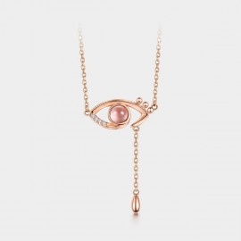 SEVENTY 6 Charming Eye Pink Necklace (B2770)