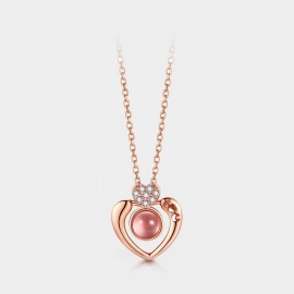 SEVENTY 6 Magical Heart Pink Necklace (B2771)