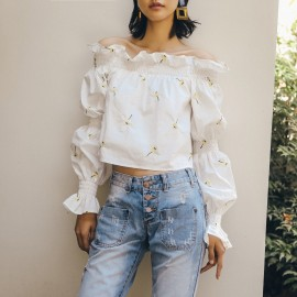 Isislove Floral Off-The-Shoulder White Top (BL18003)