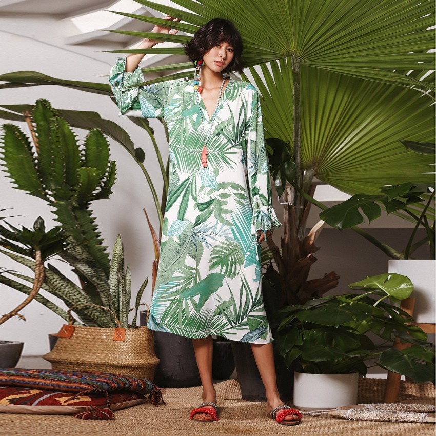 Buy Isislove Natural Leaf Green Dress online, shop Isislove with free shipping