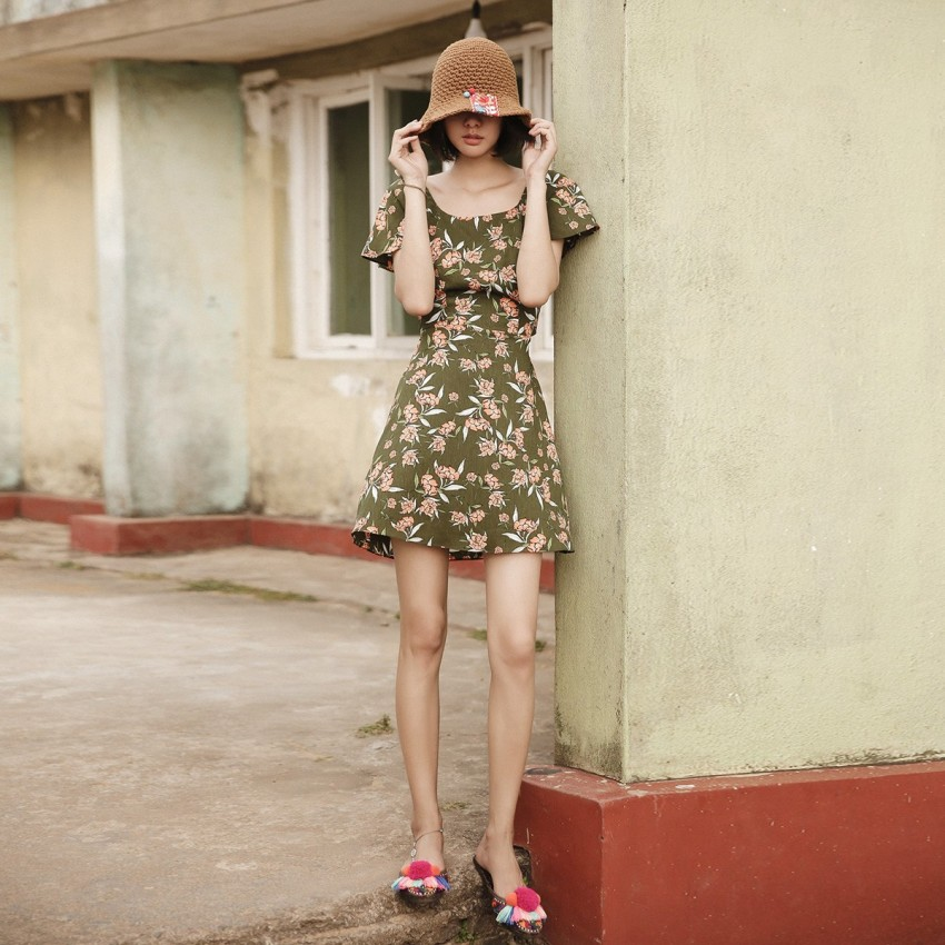Buy Isislove Floral Olive Dress online, shop Isislove with free shipping