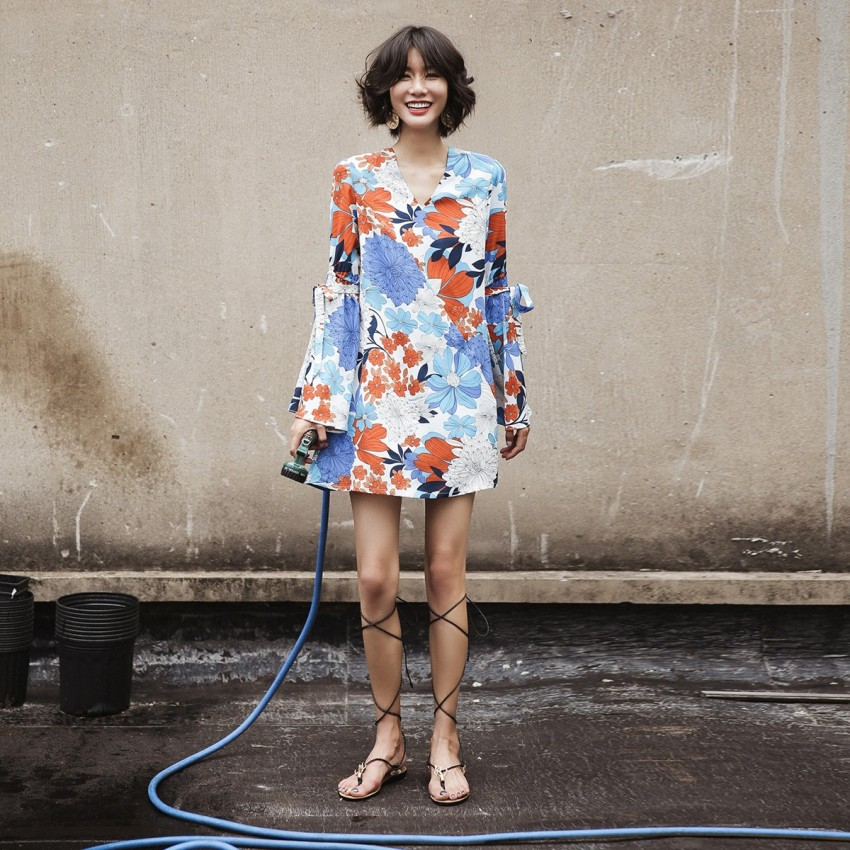 Buy Isislove Bright Floral Blue Dress online, shop Isislove with free shipping
