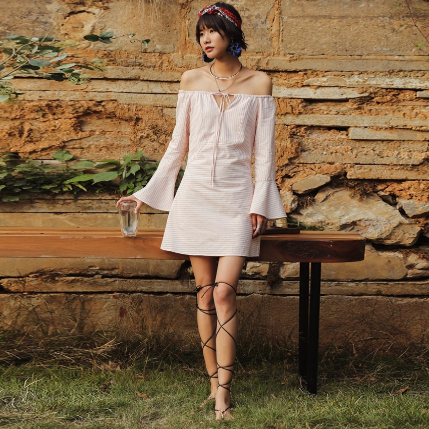 Buy Isislove Off-The-Shoulder Stripe Pink Dress online, shop Isislove with free shipping