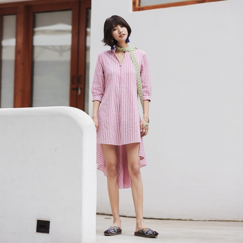 Buy Isislove Striped Pink Dress online, shop Isislove with free shipping