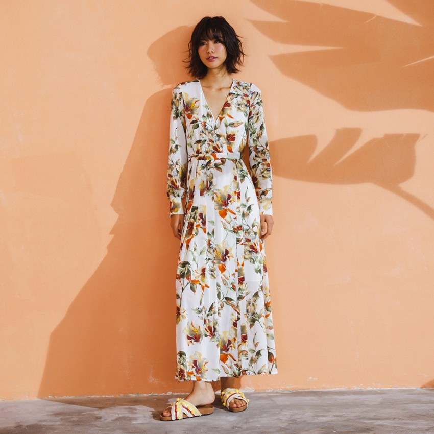 Buy Isislove V-Neck Floral White Dress online, shop Isislove with free shipping