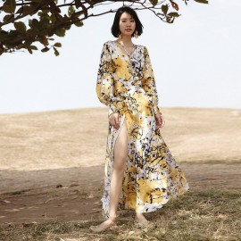 Isislove Vibrant Floral Yellow Dress (DR17159)