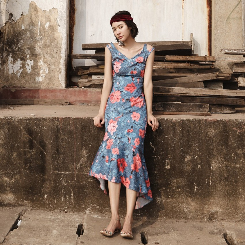 Buy Isislove Elegant Drop Waist Blue Dress online, shop Isislove with free shipping