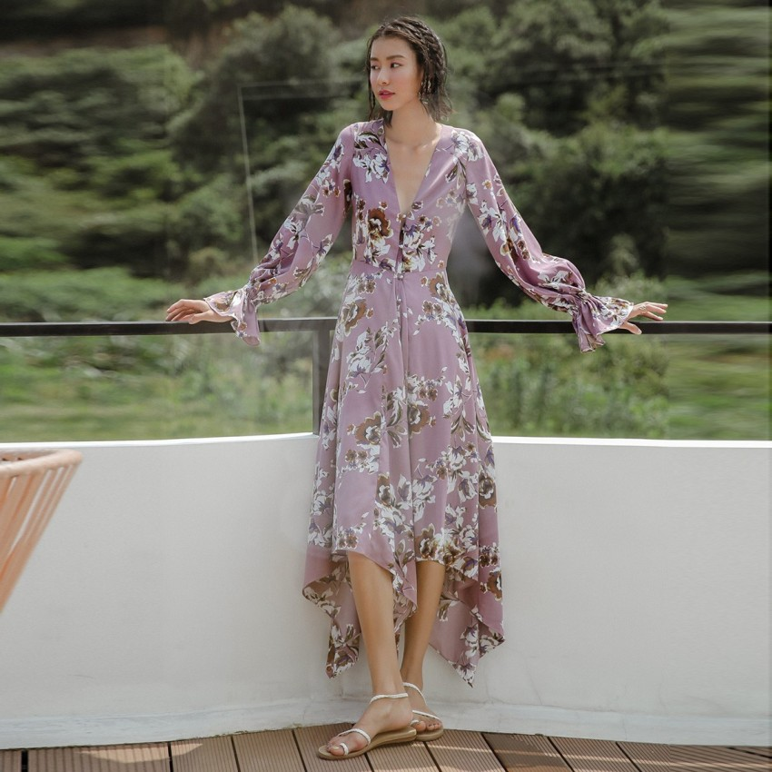 Buy Isislove DŽcolletage Floral Purple Dress online, shop Isislove with free shipping