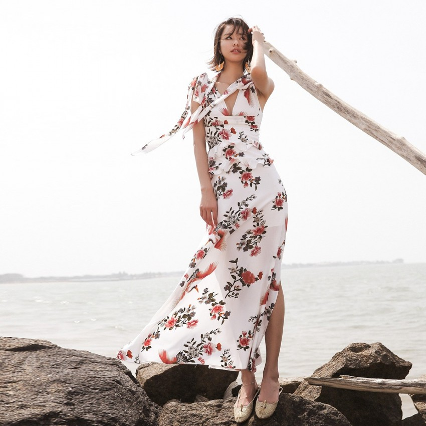 Buy Isislove Crane White Dress online, shop Isislove with free shipping