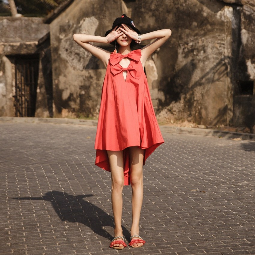 Buy Isislove Ribbon Tent Red Dress online, shop Isislove with free shipping
