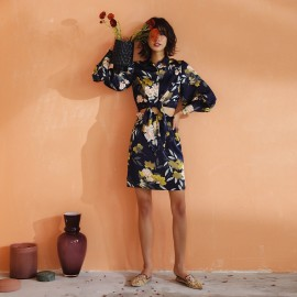 Isislove Cropped Knot-Front Floral Navy Set (DR17200)