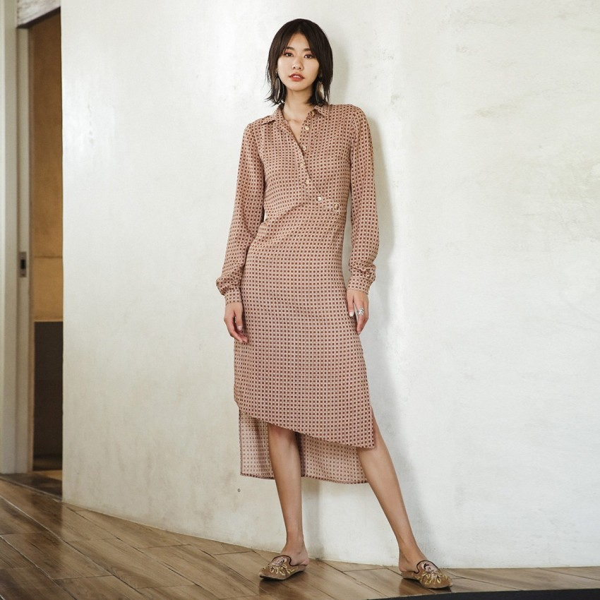 Buy Isislove Plaid Brown Dress online, shop Isislove with free shipping