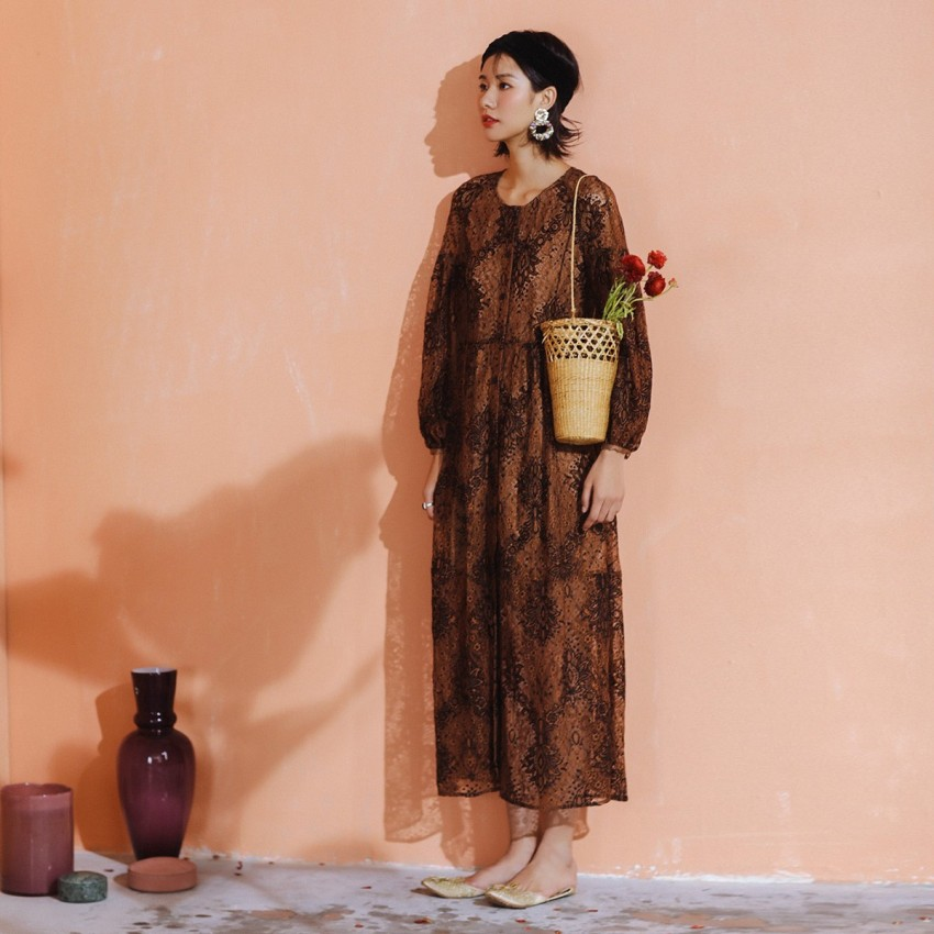 Buy Isislove Down-To-Earth Coffee Dress online, shop Isislove with free shipping