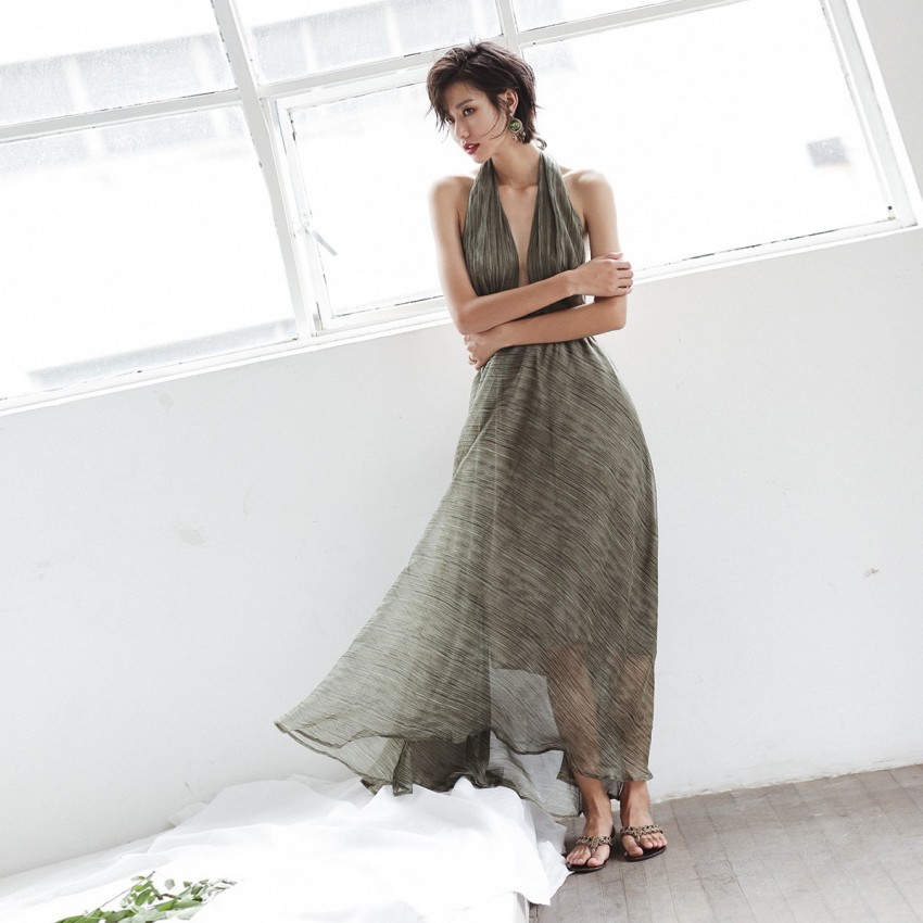Buy Isislove Backless Green Dress online, shop Isislove with free shipping