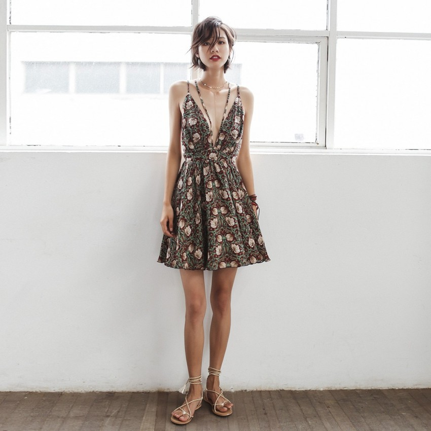 Buy Isislove Floral Brown Dress online, shop Isislove with free shipping