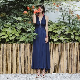 Isislove Cross Strap Back Navy Dress (DR1733)