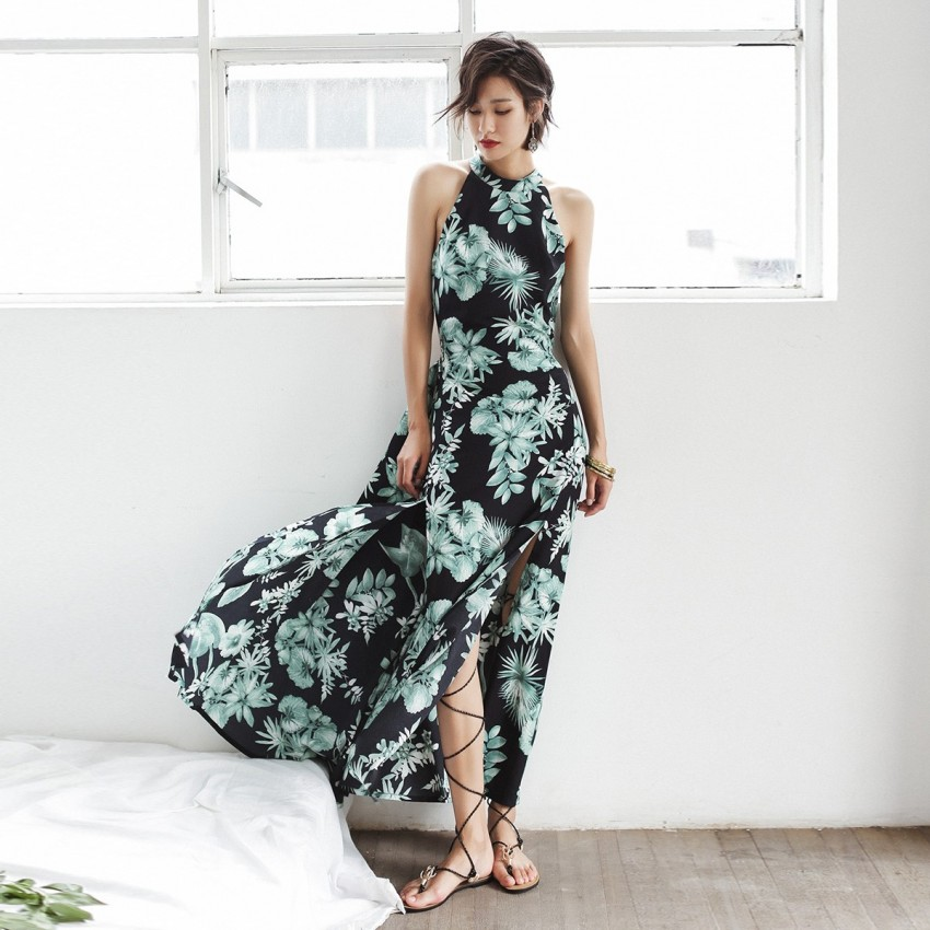 Buy Isislove Backless Floral Green Dress online, shop Isislove with free shipping