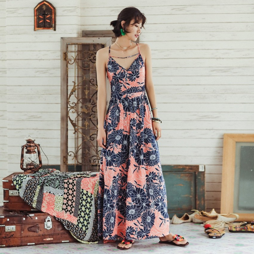 Buy Isislove Tropical Floral Pink Dress online, shop Isislove with free shipping
