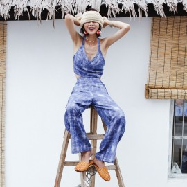 Isislove Cross Strap Back Blue Jumpsuit (DR1784)