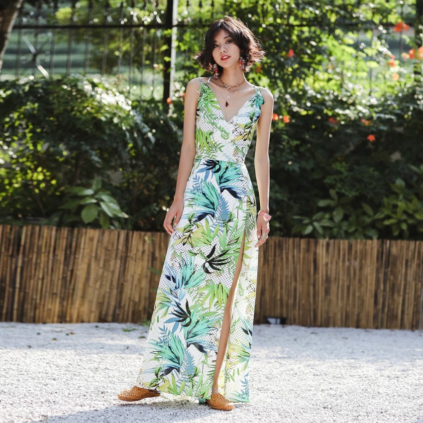 Buy Isislove Natural Green Dress online, shop Isislove with free shipping