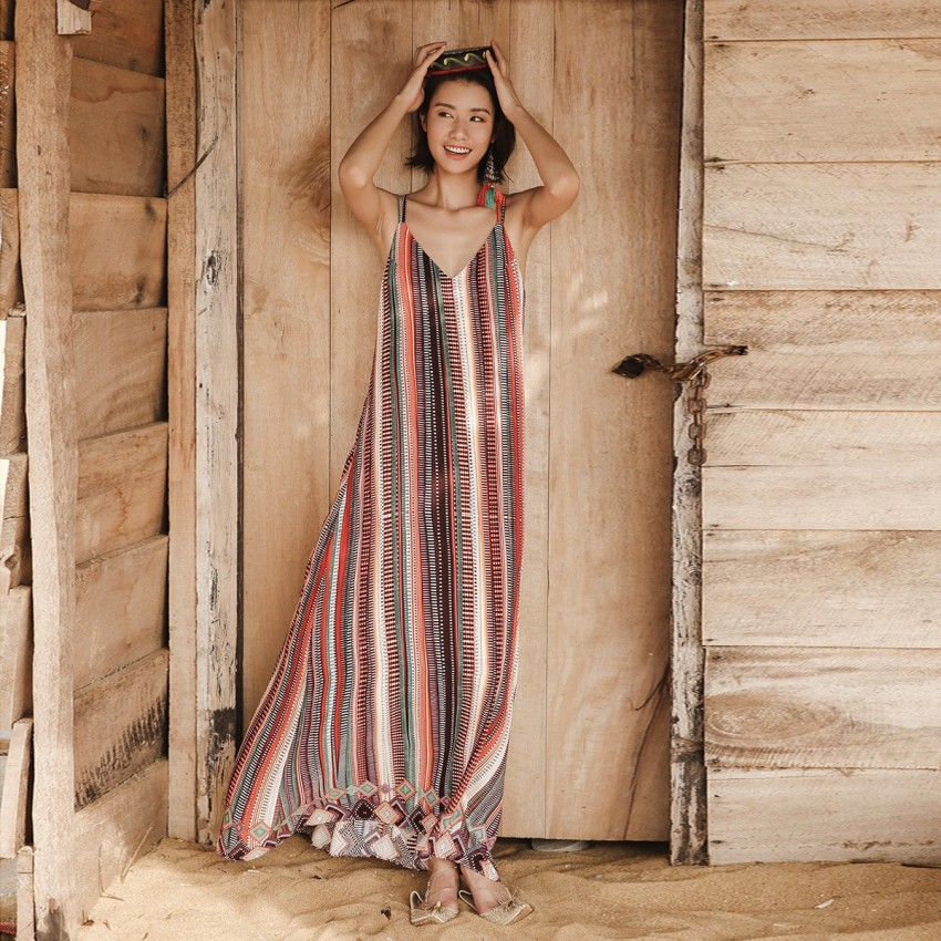 Buy Isislove Oriental Cross Strap Back Stripe Dress online, shop Isislove with free shipping