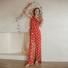 Isislove Dotted Red Jumpsuit (DR18018)
