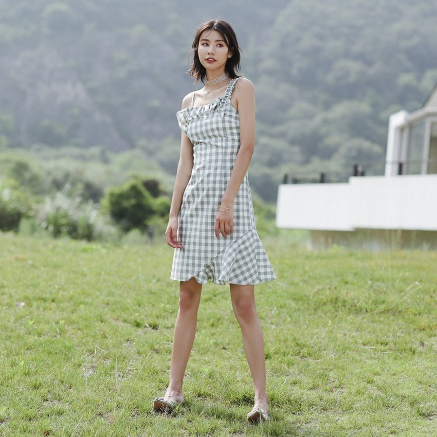 Buy Isislove Checkered Green Dress online, shop Isislove with free shipping